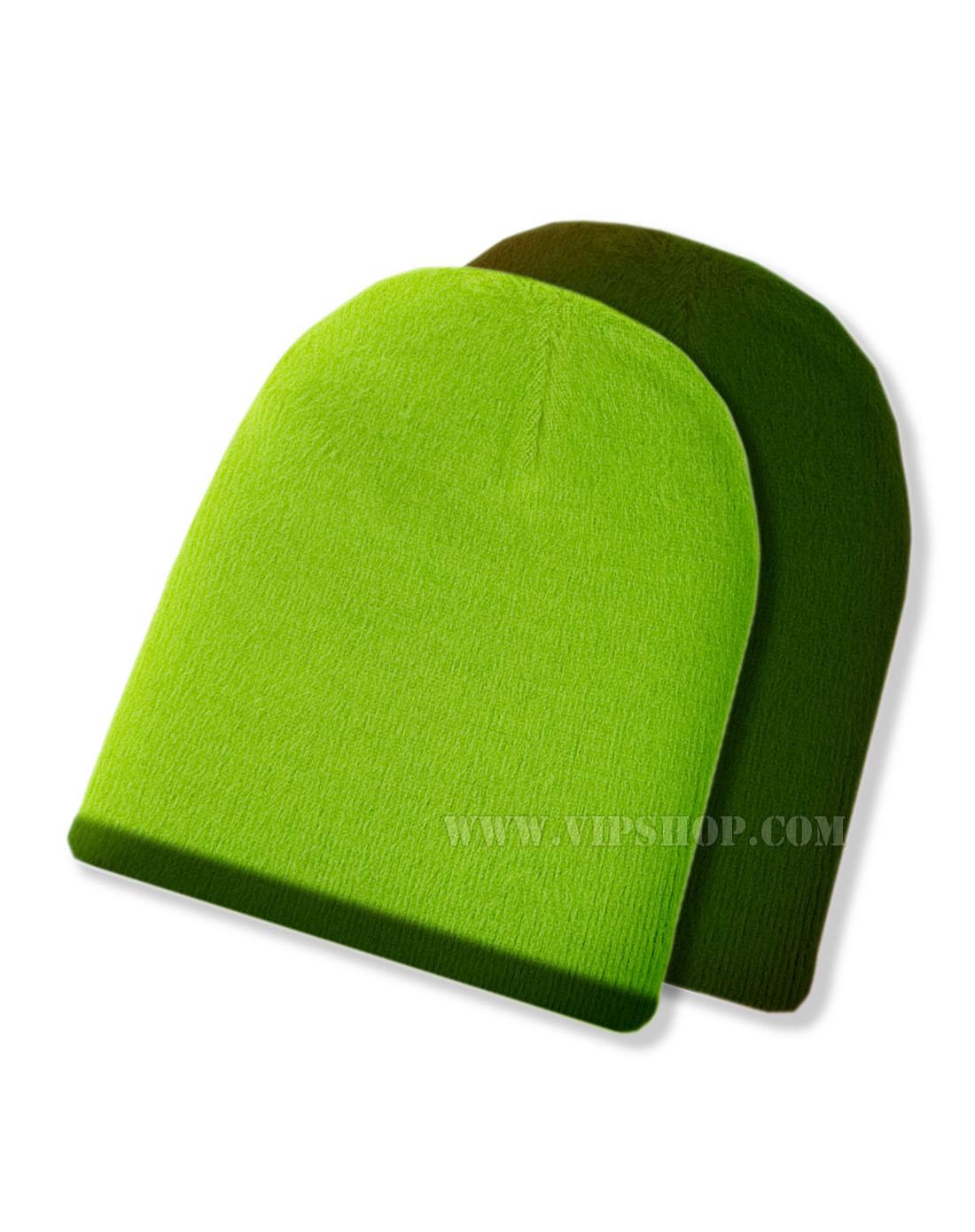 shupaca草绿色/深绿色两面羊驼绒帽子