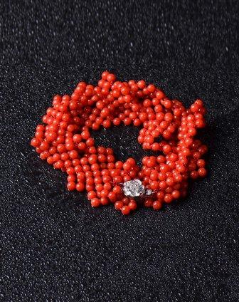 炫夜珠宝 天然红珊瑚圆珠平板花样时尚项链