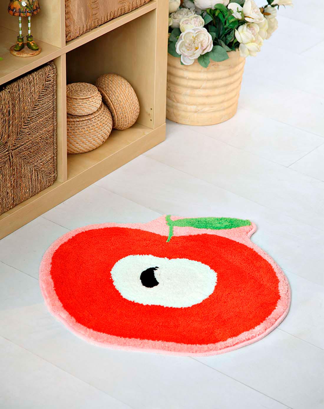 绒面地垫-可爱红苹果(红色)