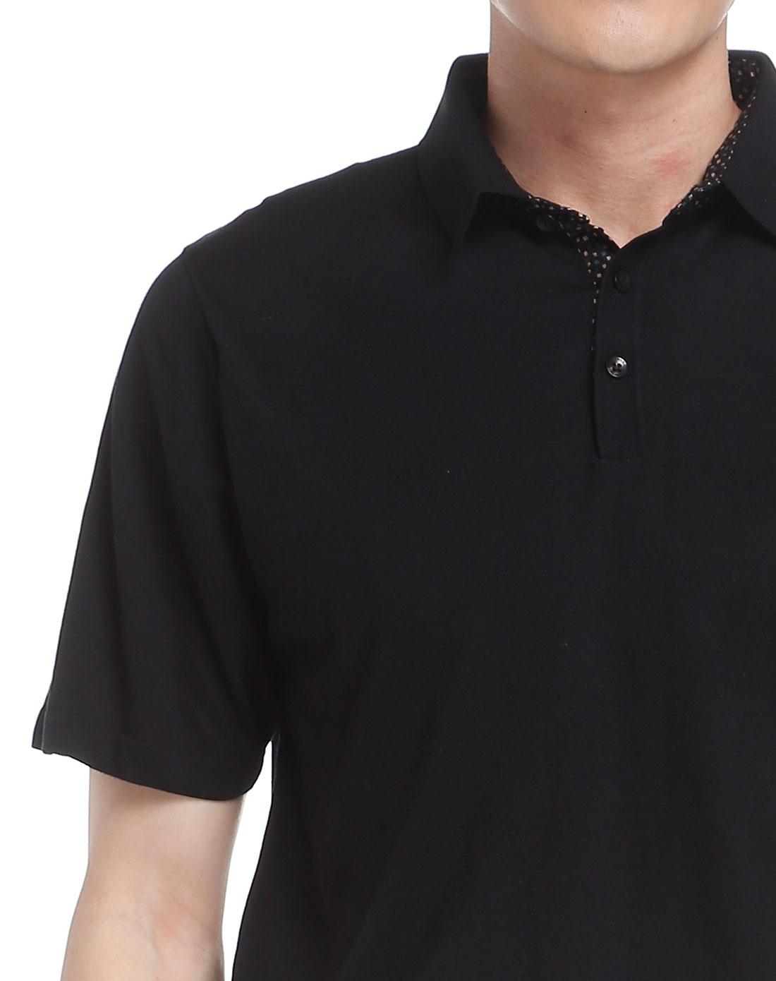 男款纯黑色简单大方翻领短袖针织衫-唯品会