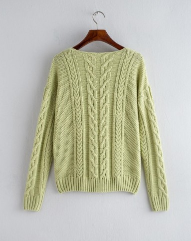 (特惠)豆绿色圆领粗毛线编织毛衣