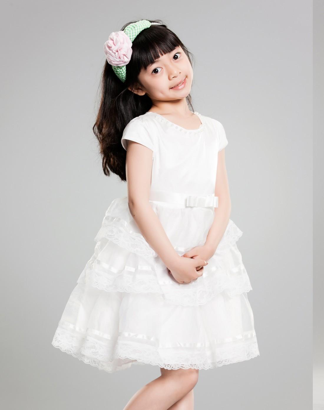 女童白色女童公主裙