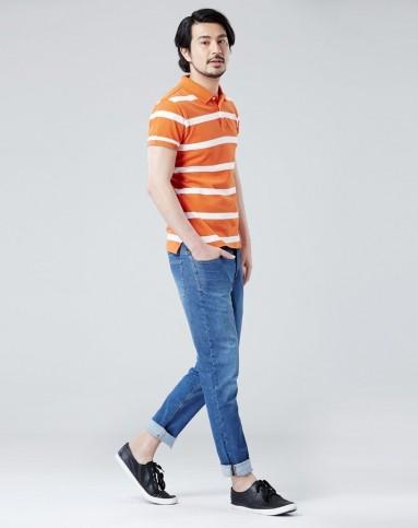 白底橙条条纹珠地网眼纯棉透气polo衫