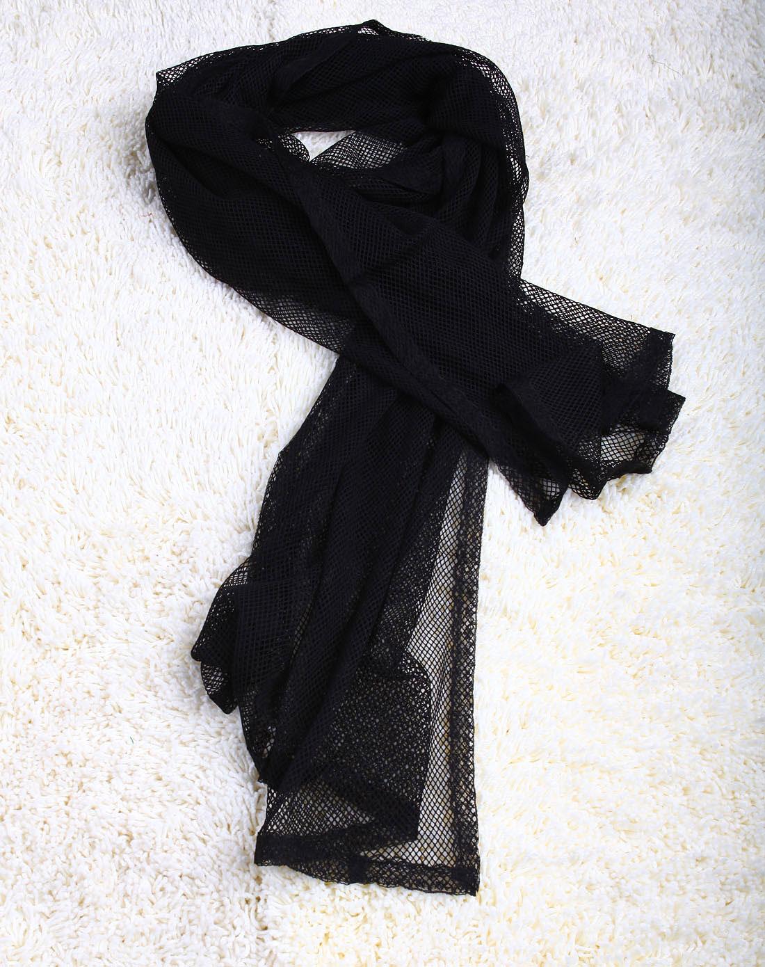 黑色镂空针织围巾