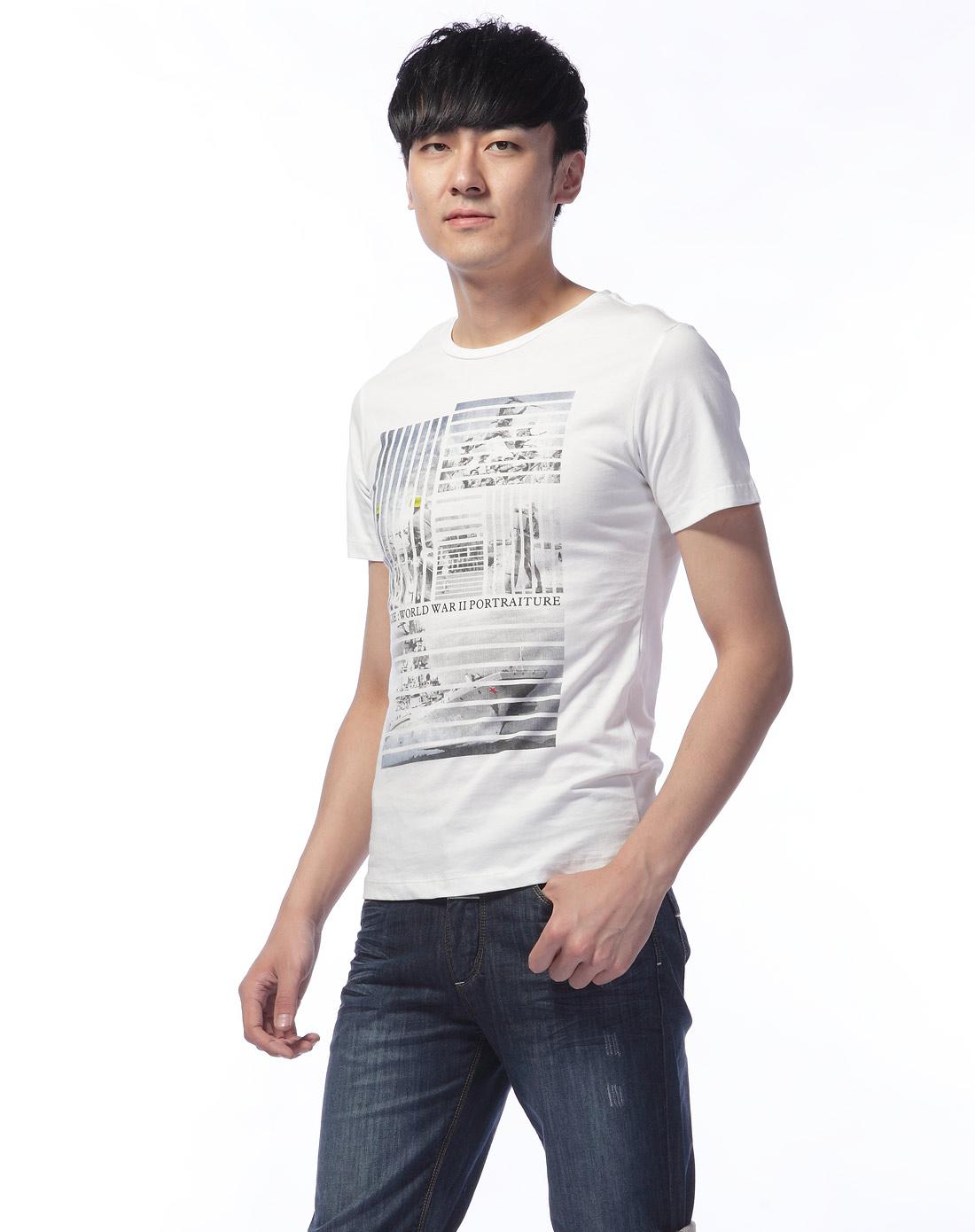 米白色复古黑白印花图案时尚t恤-唯品会