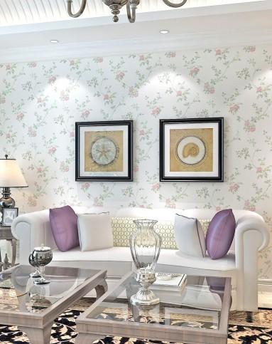粉花米白底歐式田園燙金工藝客廳臥室壁紙